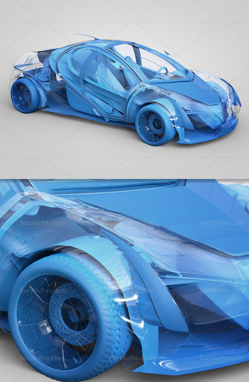 عکس اتومبیل سه بعدی آبی