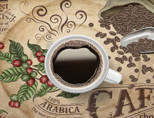 وکتور بنر فنجان قهوه تبلیغاتی