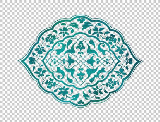 موتیف اسلیمی قدیمی سبز آبی