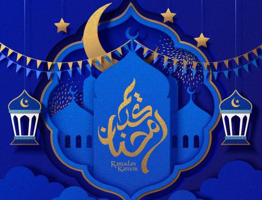 وکتور زمینه سنتی رمضان آبی