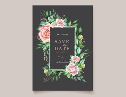 وکتور کارت عروسی گلدار