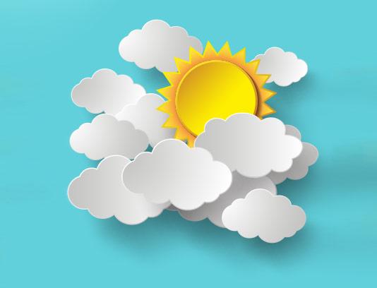 وکتور ابر و خورشید انتزاعی
