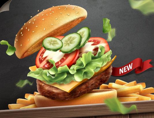 وکتور همبرگر و سیب زمینی سرخ شده