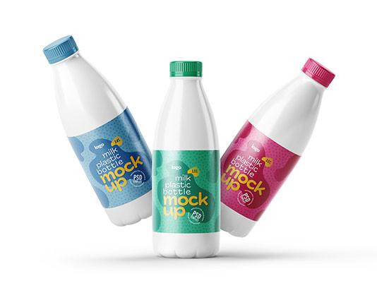 موکاپ بطری شیر پلاستیکی