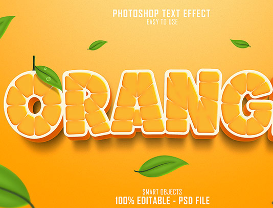 موکاپ متن سه بعدی نارنجی لایه باز