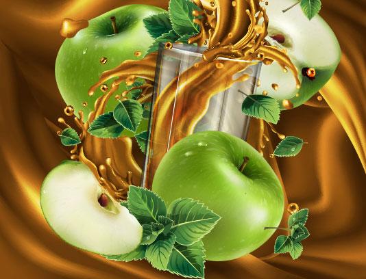وکتور اسپلش آب سیب سبز