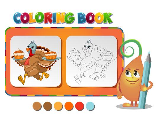 وکتور رنگ آمیزی کودکان طاووس