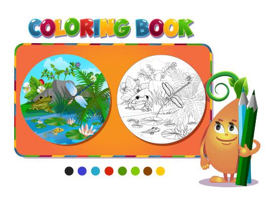وکتور رنگ آمیزی کودکانه با کیفیت