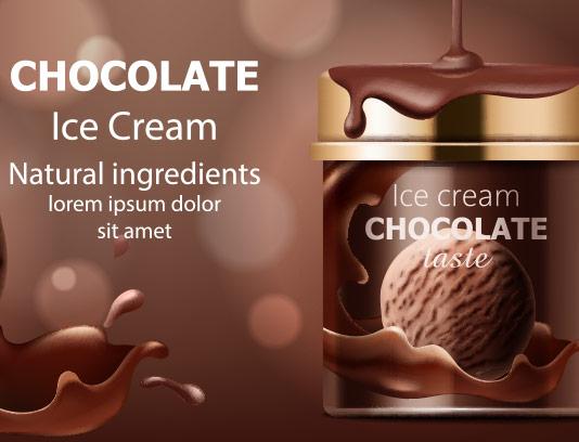 وکتور بستنی شکلاتی تبلیغاتی