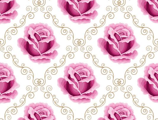 وکتور پترن گل رز صورتی