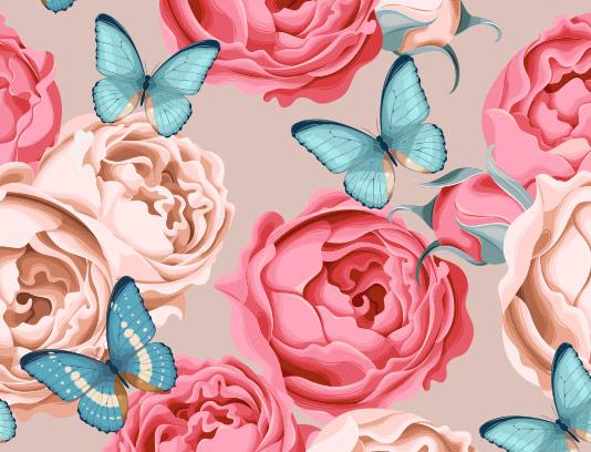 وکتور پس زمینه گل و پروانه