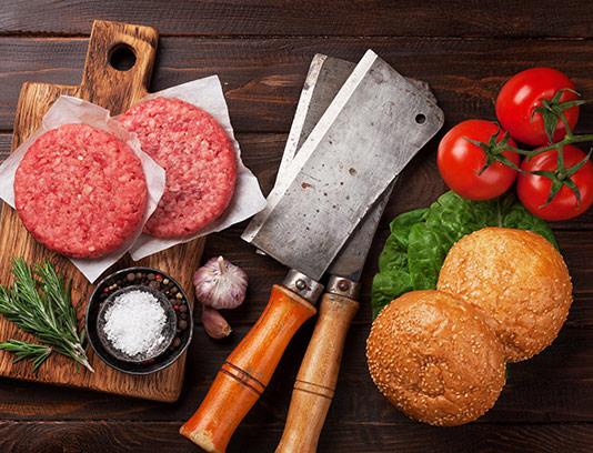 عکس همبرگر و سبزیجات