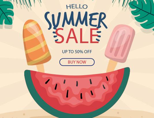 وکتور بنر فروش تابستانی انتزاعی