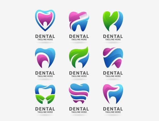 وکتور لوگو دندان انتزاعی رنگی