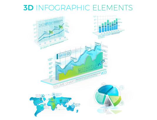 وکتور نمودار سه بعدی اینفوگرافیک