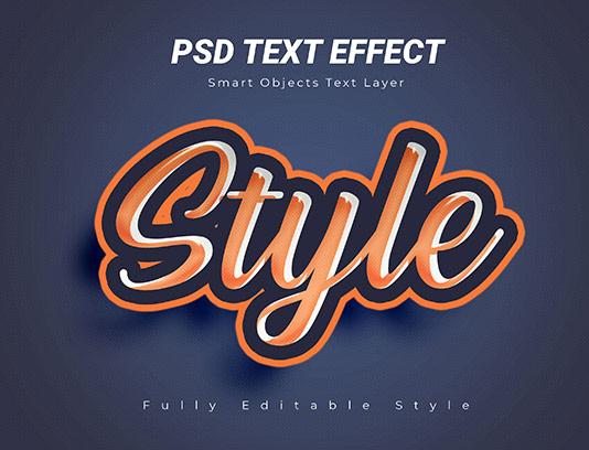 موکاپ متن سه بعدی نارنجی PSD