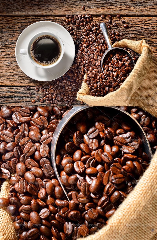 عکس دانه های قهوه و فنجان