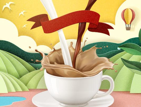 وکتور شیر قهوه با کیفیت