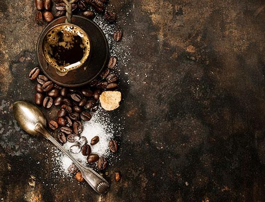 پس زمینه دانه های قهوه