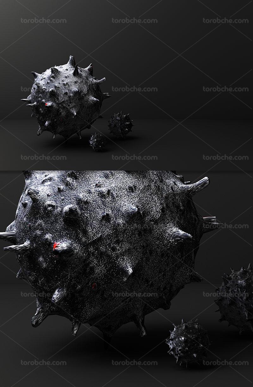 عکس ویروس کرونا سه بعدی
