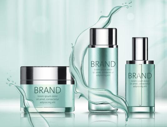 وکتور محصولات مراقبت از پوست تبلیغاتی
