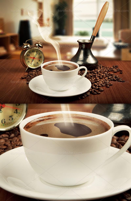 عکس فنجان قهوه و ساعت