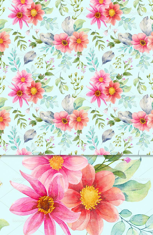 پترن گل های بهاری رنگی