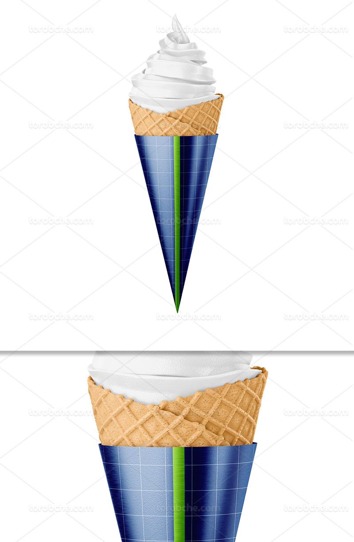 موکاپ بستنی قیفی لایه باز