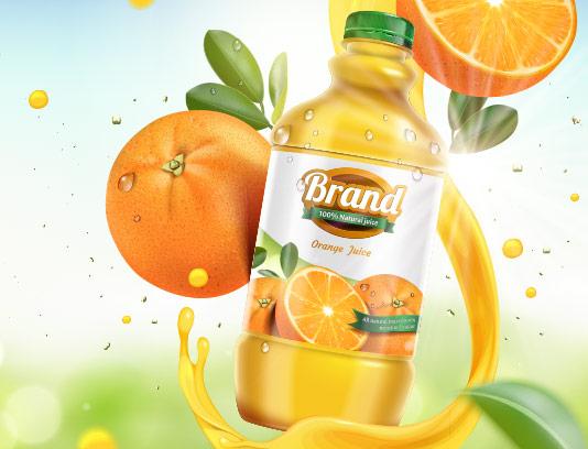 وکتور لیبل آب پرتقال