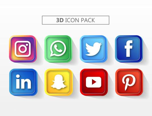 وکتور آیکون شبکه های اجتماعی رنگی