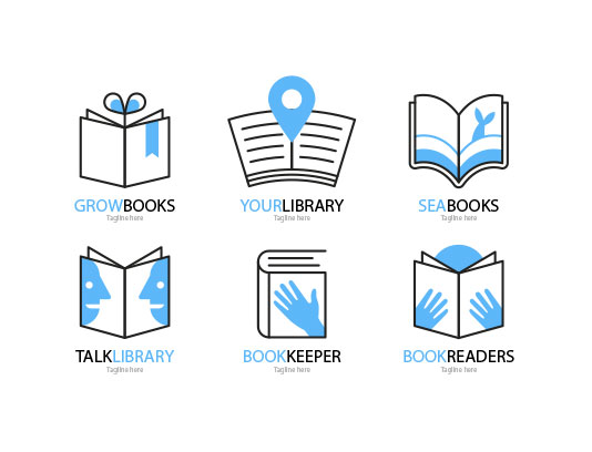 وکتور لوگو کتابخانه آبی
