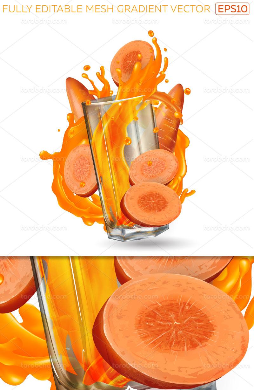وکتور اسپلش آب هویج