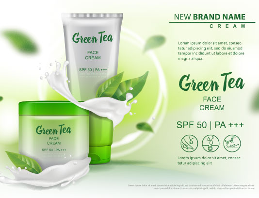 وکتور کرم صورت چای سبز