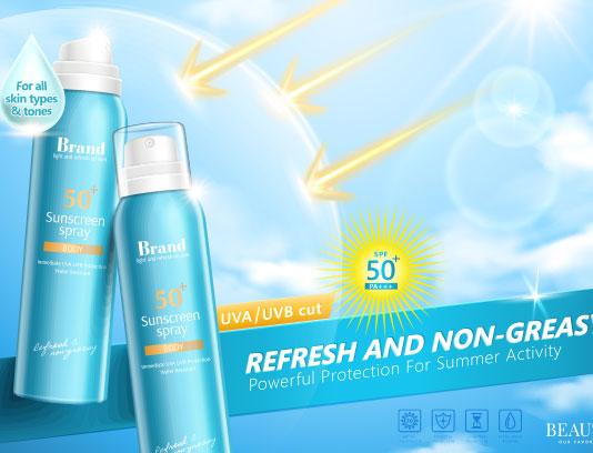 وکتور تبلیغاتی اسپری ضد آفتاب