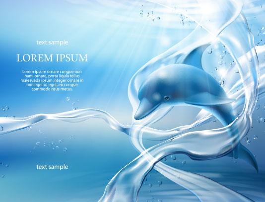 وکتور دلفین آبی انتزاعی