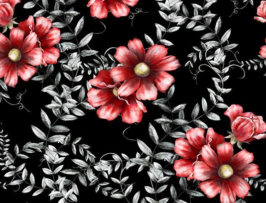 پترن گل و بته قرمز سفید