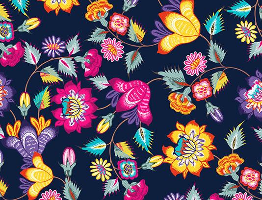 پترن گل و بوته رنگارنگ