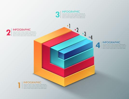 وکتور اینفوگرافیک 4 مرحله ای رنگی
