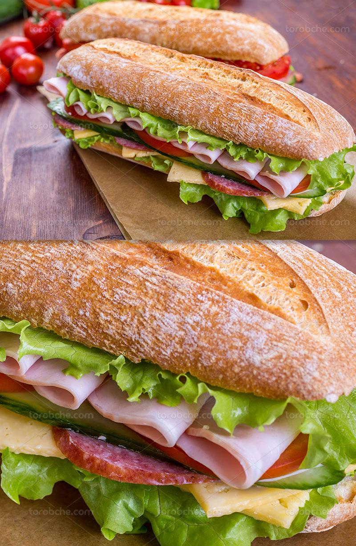 عکس ساندویچ ژامبون با کاهو
