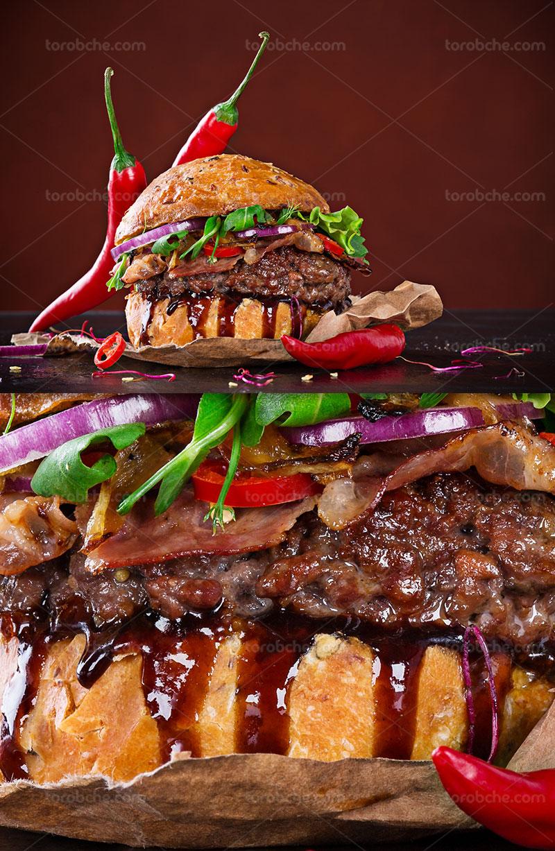 عکس ساندویچ همبرگر با فلفل