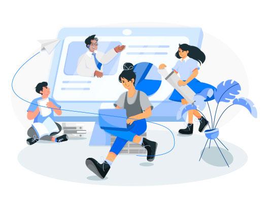 وکتور دوره آنلاین آموزشی آبی