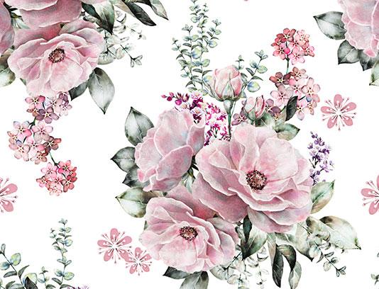 پترن گل و برگ صورتی