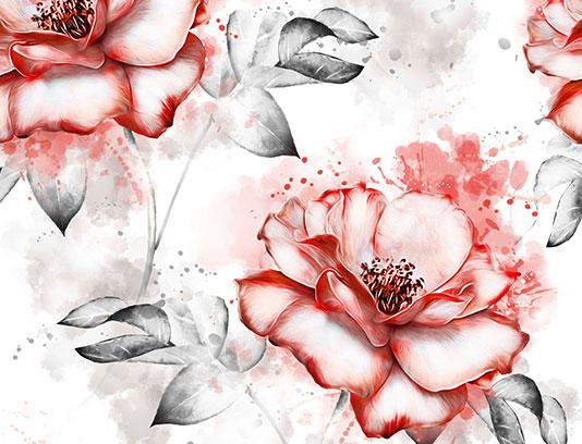 پترن گل سرخ و برگ