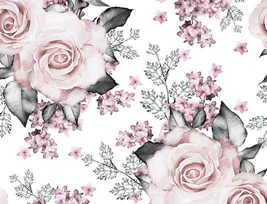 پترن گل رز و برگ