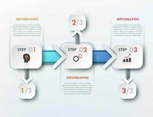وکتور اینفوگرافیک انتزاعی 4 مرحله