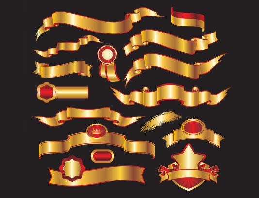 وکتور لیبل محصولات طلایی قرمز